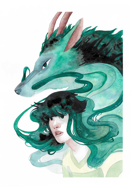 Chihiro & Haku by Miriam Escobosa