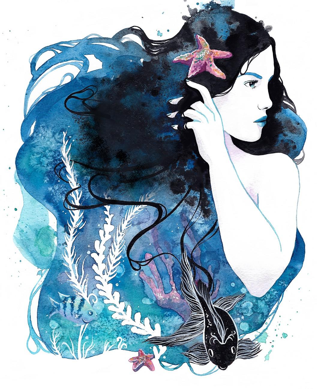 Ilustración Una ola con sabor a pez